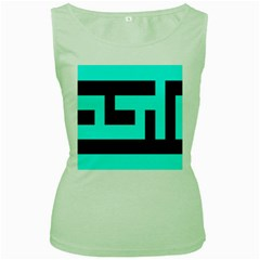 Black And Teal Women s Green Tank Top by timelessartoncanvas