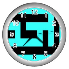 Black And Teal Wall Clocks (silver)  by timelessartoncanvas