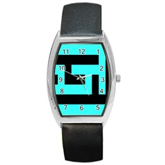 Black And Teal Barrel Style Metal Watch by timelessartoncanvas