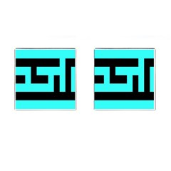 Black And Teal Cufflinks (square)