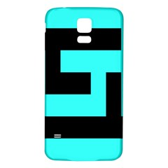 Black And Teal Samsung Galaxy S5 Back Case (white) by timelessartoncanvas