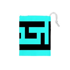 Black And Teal Drawstring Pouches (small)