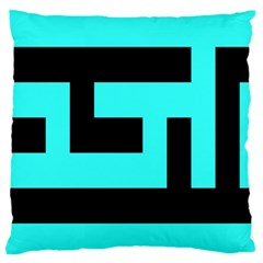 Black And Teal Large Flano Cushion Case (one Side) by timelessartoncanvas