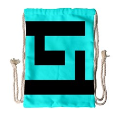 Black And Teal Drawstring Bag (large) by timelessartoncanvas