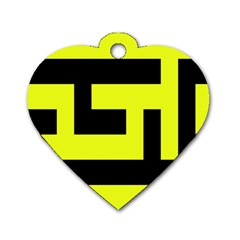 Black And Yellow Dog Tag Heart (two Sides) by timelessartoncanvas