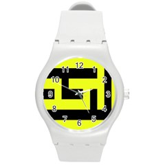 Black And Yellow Round Plastic Sport Watch (m) by timelessartoncanvas