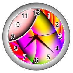 Colorful 1 Wall Clocks (silver)  by timelessartoncanvas