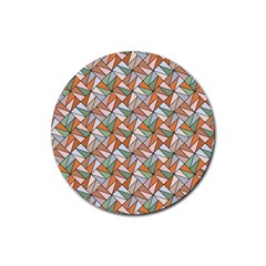 Allover Graphic Brown Rubber Coaster (round)  by MoreColorsinLife