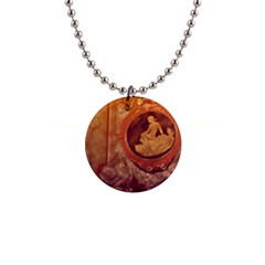 Vintage Ladies Artwork Orange Button Necklaces by BrightVibesDesign