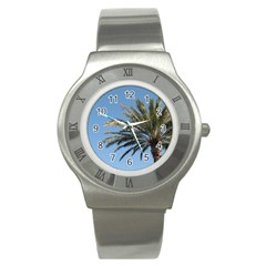 Tropical Palm Tree  Stainless Steel Watch by BrightVibesDesign