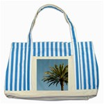 Tropical Palm Tree  Striped Blue Tote Bag Front