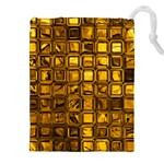 Glossy Tiles, Golden Drawstring Pouches (XXL) Front