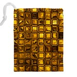 Glossy Tiles, Golden Drawstring Pouches (XXL) Back