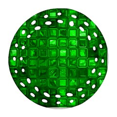 Glossy Tiles,green Ornament (round Filigree)