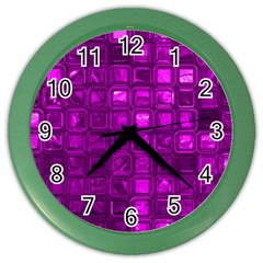 Glossy Tiles,purple Color Wall Clocks by MoreColorsinLife
