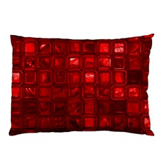 Glossy Tiles,red Pillow Case by MoreColorsinLife