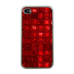 Glossy Tiles,red Apple Iphone 4 Case (clear) by MoreColorsinLife