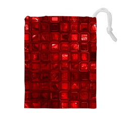 Glossy Tiles,red Drawstring Pouches (extra Large)
