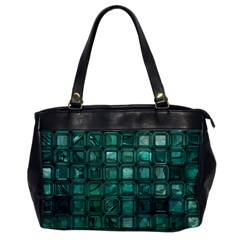 Glossy Tiles,teal Office Handbags by MoreColorsinLife