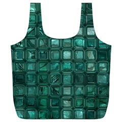 Glossy Tiles,teal Full Print Recycle Bags (l)  by MoreColorsinLife