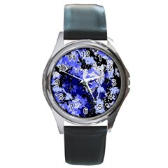 Abstract #7 Round Metal Watch