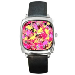 Abstract #11 Square Metal Watch