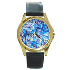 Abstract Floral Round Gold Metal Watch by Uniqued