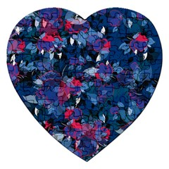 Abstract Floral #3 Jigsaw Puzzle (heart) by Uniqued
