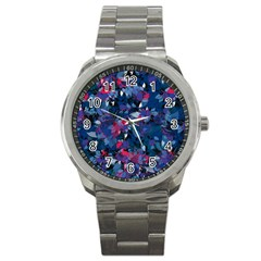 Abstract Floral #3 Sport Metal Watch