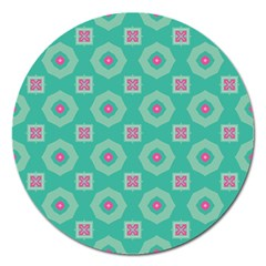 Pink Flowers And Other Shapes Pattern  			magnet 5  (round) by LalyLauraFLM