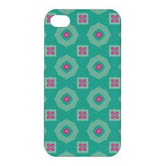 Pink Flowers And Other Shapes Pattern  Apple Iphone 4/4s Hardshell Case by LalyLauraFLM