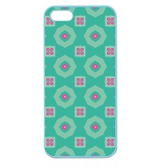 Pink Flowers And Other Shapes Pattern  			apple Seamless Iphone 5 Case (color) by LalyLauraFLM