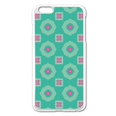 Pink Flowers And Other Shapes Pattern  			apple Iphone 6 Plus/6s Plus Enamel White Case by LalyLauraFLM