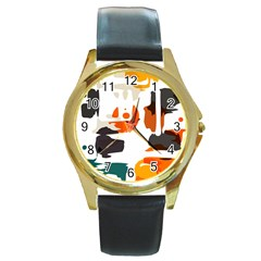 Shapes In Retro Colors On A White Background 			round Gold Metal Watch by LalyLauraFLM