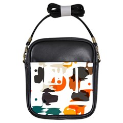Shapes In Retro Colors On A White Background 			girls Sling Bag by LalyLauraFLM