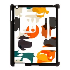 Shapes In Retro Colors On A White Background 			apple Ipad 3/4 Case (black) by LalyLauraFLM
