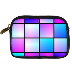 Gradient Squares Pattern  	digital Camera Leather Case by LalyLauraFLM