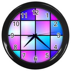 Gradient Squares Pattern  			wall Clock (black) by LalyLauraFLM