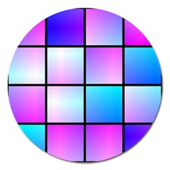 Gradient Squares Pattern  			magnet 5  (round) by LalyLauraFLM