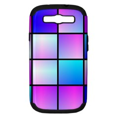 Gradient Squares Pattern  			samsung Galaxy S Iii Hardshell Case (pc+silicone) by LalyLauraFLM