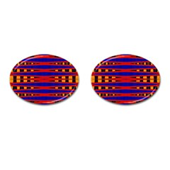 Bright Blue Red Yellow Mod Abstract Cufflinks (oval)