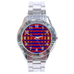 Bright Blue Red Yellow Mod Abstract Stainless Steel Analogue Watch