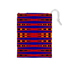 Bright Blue Red Yellow Mod Abstract Drawstring Pouches (medium)