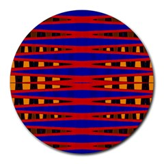 Bright Blue Red Yellow Mod Abstract Round Mousepads