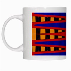 Bright Blue Red Yellow Mod Abstract White Mugs