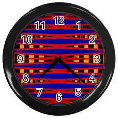 Bright Blue Red Yellow Mod Abstract Wall Clocks (black)