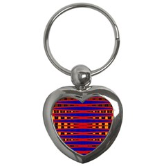 Bright Blue Red Yellow Mod Abstract Key Chains (heart)  by BrightVibesDesign