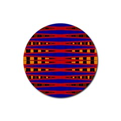 Bright Blue Red Yellow Mod Abstract Rubber Coaster (round)