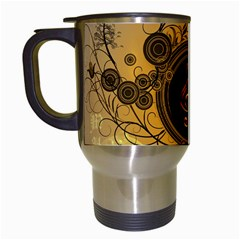 Decorative Clef On A Round Button With Flowers And Bubbles Travel Mugs (white) by FantasyWorld7
