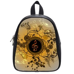 Decorative Clef On A Round Button With Flowers And Bubbles School Bags (small)  by FantasyWorld7